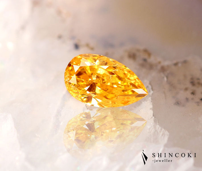 オレンジダイヤモンド 0.332ct ルース FANCY VIVID YELLOW ORANGE〔AGT〕パンプキンダイヤモンド