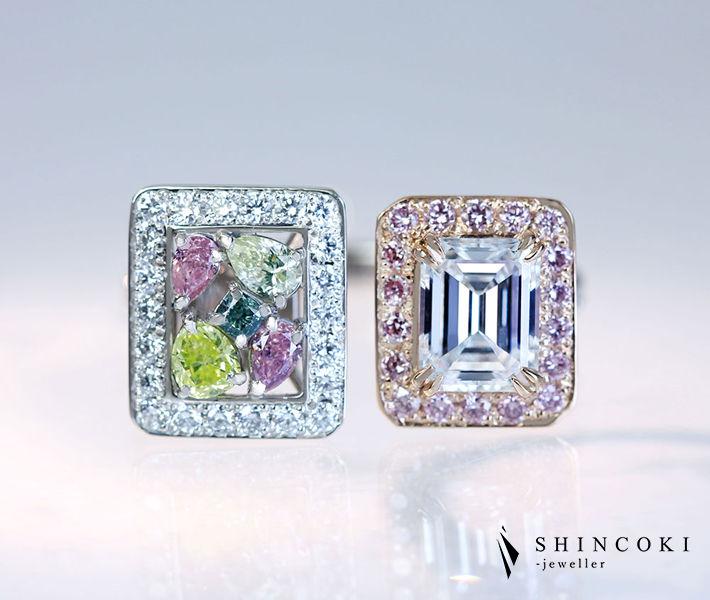 【HANDMADE】PT950/K18PG ダイヤモンド 0.83ct E VS-1/カラーダイヤモンド リング FANCY INTENSE BLUISH GREEN/FANCY INTENSE YELLOW GREEN/FANCY PINK/FANCY PURPLISH PINK〔GIA/CGL〕