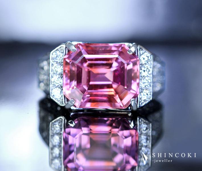 PT900 ヴェトナム産ピンクサファイア 9.46ct リング ダイヤモンド 1.92ct〔GRS〕エメラルドカット
