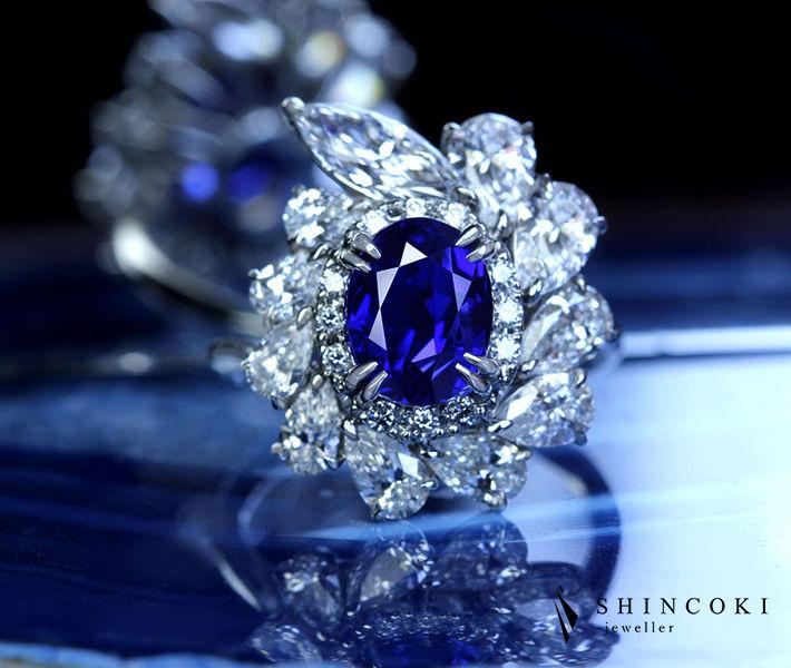【HANDMADE】PT950 非加熱ビルマ産ロイヤルブルーサファイア 3.21ct リング ダイヤモンド 2.472ct〔GUBELIN〕 NO HEAT BURMA