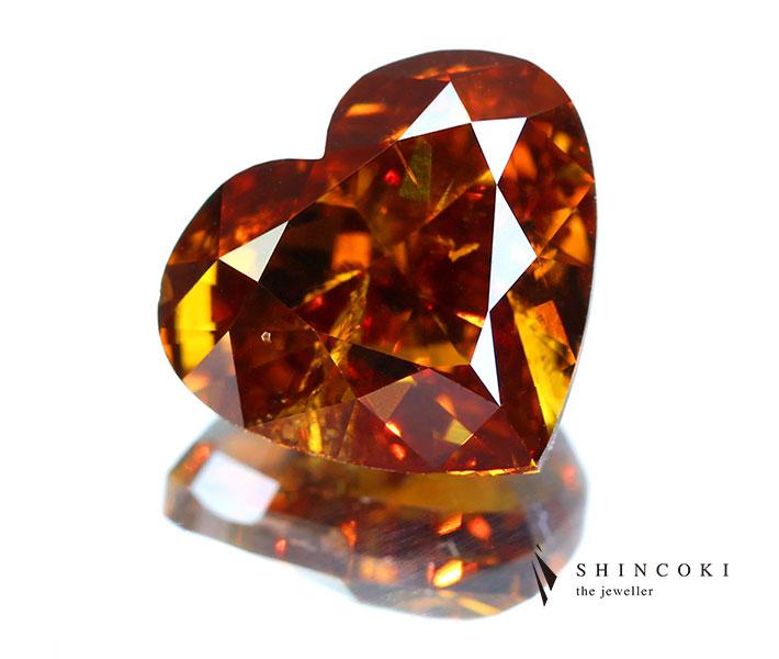 オレンジダイヤモンド ルース 1.97ct FANCY DEEP BROWN-ORANGE〔GIA〕ハートシェイプ
