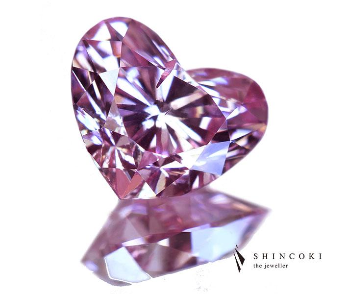 ピンクダイヤモンド 0.40ct FANCY INTENSE PURPLISH PINK SI-2〔GIA〕ハートシェイプ