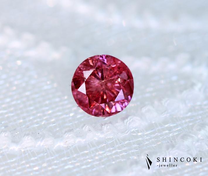 ピンクダイヤモンド ルース 0.130ct FANCY VIVID PURPLISH PINK I-2 [CGL] ナチュラルピンクダイヤモンド
