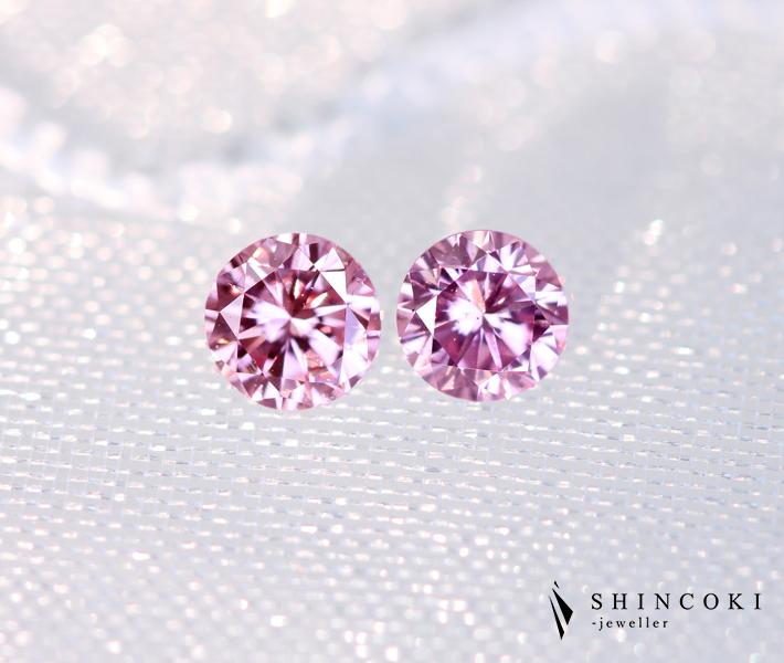 ピンクダイヤモンド ルース 0.120ct FANCY PINK SI-1 / 0.114ct FANCY PURPLISH PINK SI-1 [CGL] ナチュラルピンクダイヤモンド