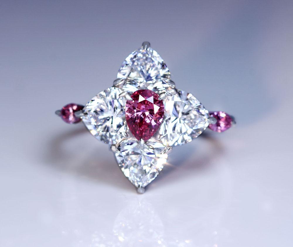 【HANDMADE】PT950 ピンクダイヤモンド 0.445ct FANCY VIVID PURPLISH PINK リング ハートシェイプダイヤモンド/ピンクダイヤモンド〔GIA/CGL〕