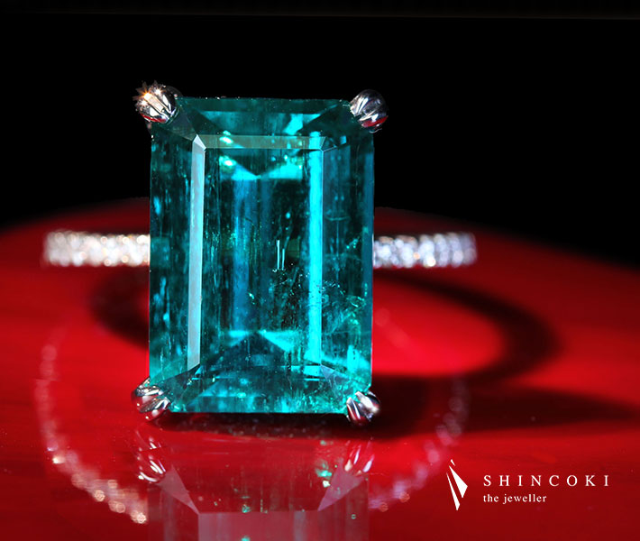 【HANDMADE】PT950 コロンビア産エメラルド 7.1ct リング ダイヤモンド 0.62ct 〔GRS〕Vivid green/Insignificant