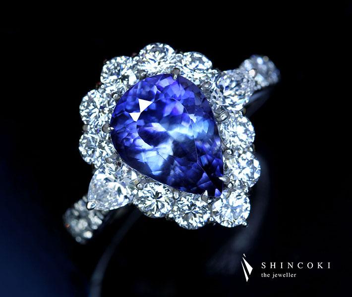 【HANDMADE】PT950 3.6ct ベニトアイト リング 2.305ct ダイヤモンド