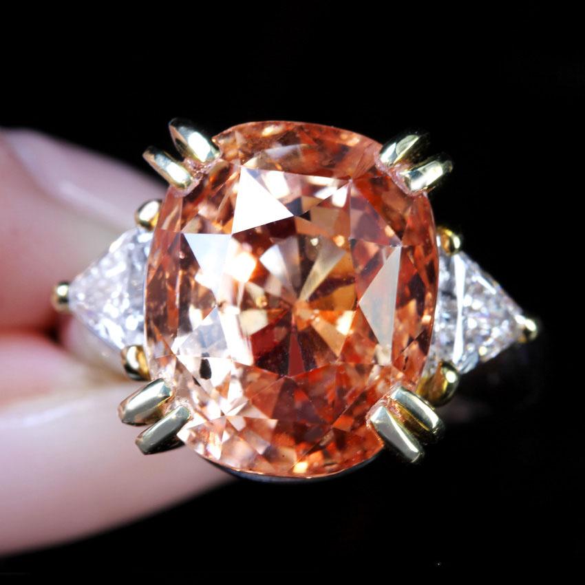PT900/K18 非加熱パパラチャサファイア 20.87ct リング Total1.013ct ダイヤモンド 〔GRS REPORT〕