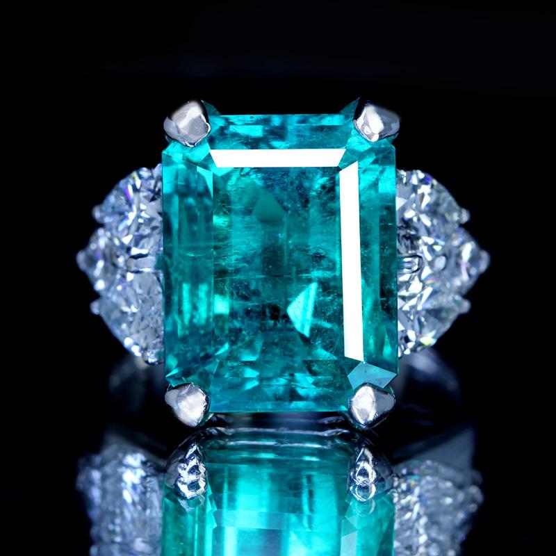 PT900 コロンビア産エメラルド 10.72ct リング ダイヤモンド 2.65ct 〔GRS〕 10ctUP insignificant エメラルドグリーン