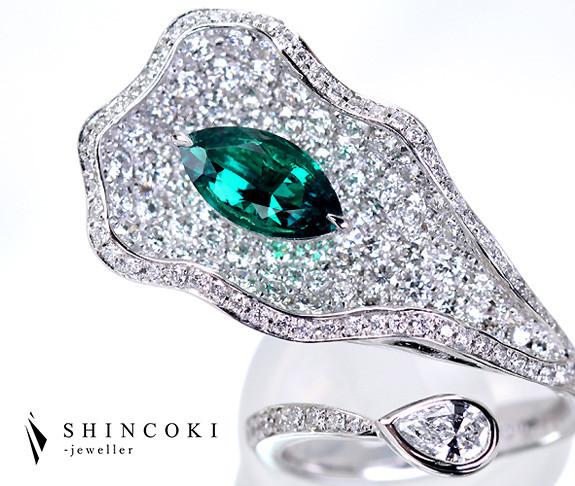 【HANDMADE】プラチナ950 コロンビア産エメラルド 1.04ct ダイヤモンド2.55ct リング 指輪