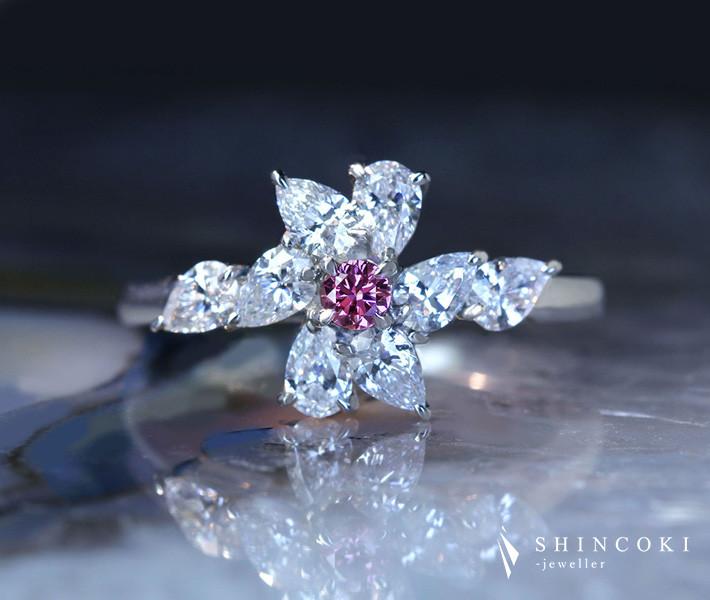 【HANDMADE】P950 ピンクダイヤモンド 0.086ct リング ダイヤモンド 0.850ct[AGT]
