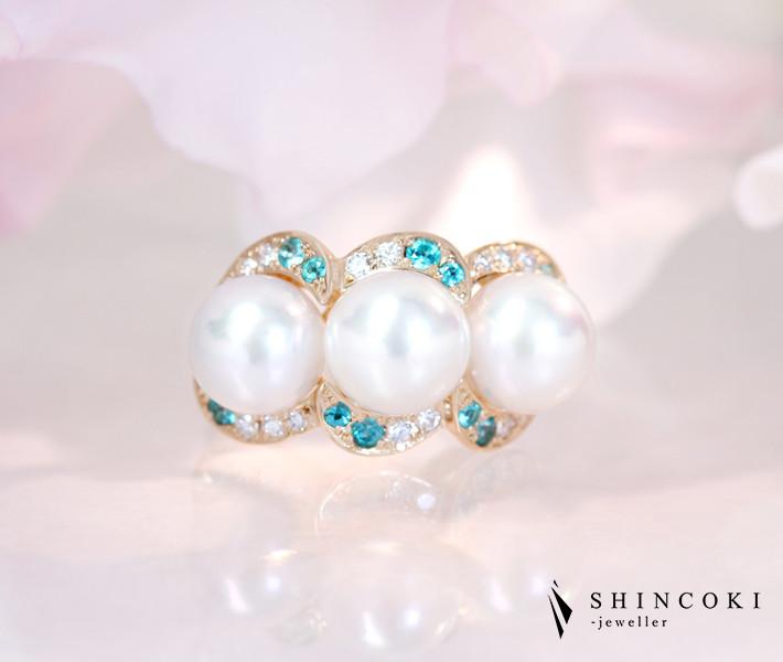 【HANDMADE】K18PG あこや真珠 8.1-8.3mm ブラジル産パライバトルマリン 0.288ct ダイヤモンド 0.255ct リング