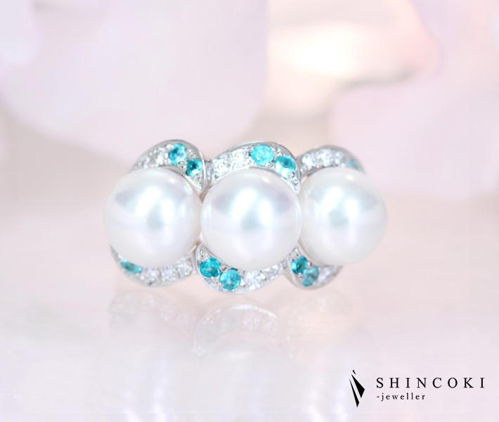 【HANDMADE】K18WG あこや真珠 8.3-8.4mm ブラジル産パライバトルマリン 0.288ct ダイヤモンド 0.255ct リング