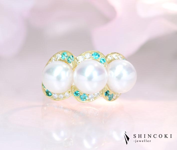 【HANDMADE】K18 あこや真珠 8.0-8.4mm ブラジル産パライバトルマリン 0.288ct ダイヤモンド 0.255ct リング