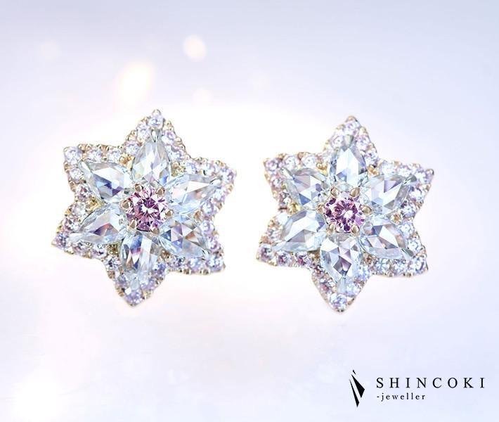 【HANDMADE】K18PG/PT950 ピンクダイヤモンド ピアス FANCY LIGHT PINK 0.089ct/0.106ct ローズカットダイヤモンド 0.483ct/0.483ct ピンクダイヤモンドメレ〔CGL〕