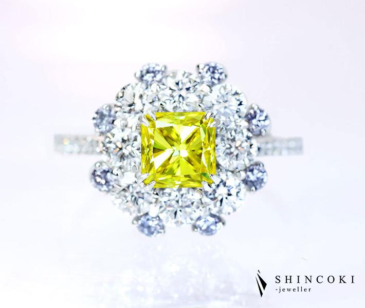 【HANDMADE】PT950 イエローダイヤモンド 1.15ct FANCY INTENSE YELLOW VVS-1 リング ダイヤモンド total1.111ct D VS-1 3EX H&C 天然ブルーダイヤモンドメレ〔GIA〕
