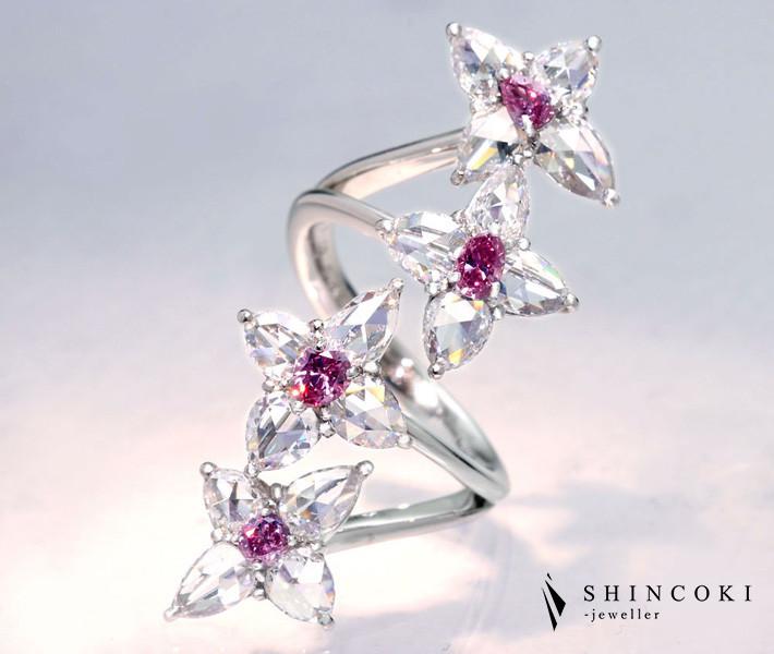 【HANDMADE】PT950 ピンクダイヤモンド total0.457ct FANCY INTENSE PINK/DEEP PINK リング ロースカットダイヤモンド 2.522ct〔CGL〕