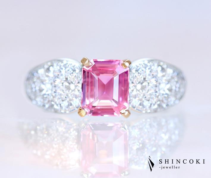 """【HANDMADE】PT950 非加熱パパラチャサファイア 1.07ct ダイヤモンド 0.801ct リング """"Romantic Pink"""" 〔GIA REPORT〕"""
