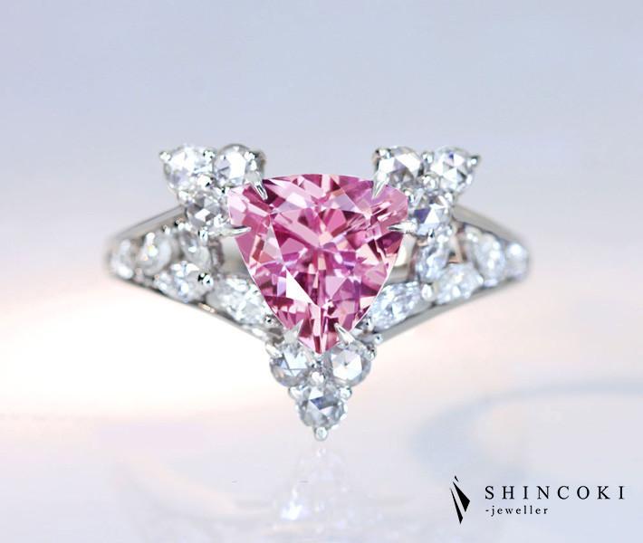 【HANDMADE】PT950 モルガナイト 1.484ct リング ダイヤモンド 0.531ct トリリアントカット ローズカットダイヤモンド