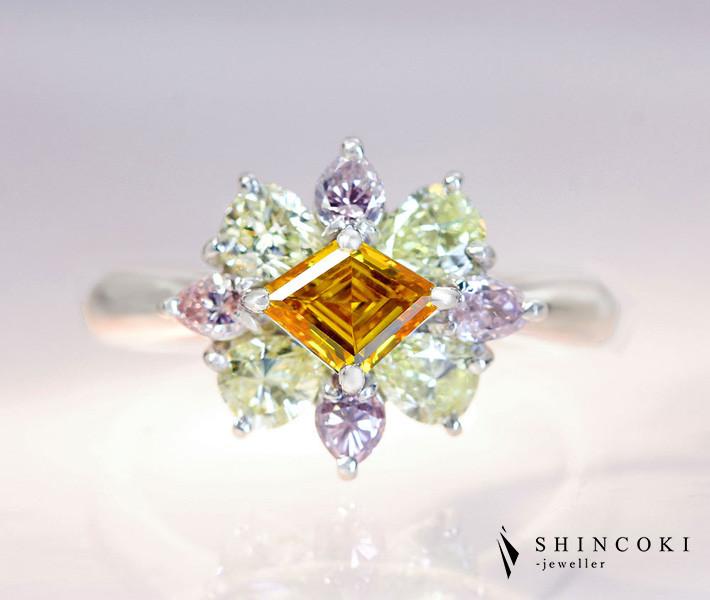 PT900 オレンジダイヤモンド 0.528ct ピンクダイヤモンド/グリーンイエローダイヤモンド 1.33ct リング パンプキンダイヤモンド