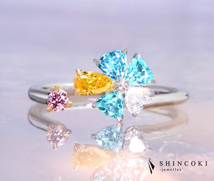 【HANDMADE】PT950/K18PG パライバトルマリン 0.43ct オレンジダイヤモンド 0.208ct ピンクダイヤモンド 0.066ct ダイヤモンド 0.108ct ハートシェイプ リング