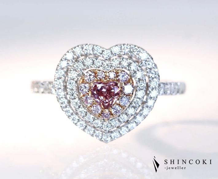 PT900/K18PG ピンクダイヤモンド 0.205ct ダイヤモンド 0.45ct ピンクダイヤモンド 0.10ct ハートシェイプ リング